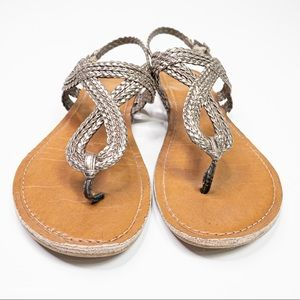 Merona Silver/Brown Braided Sandal Ankle Strap